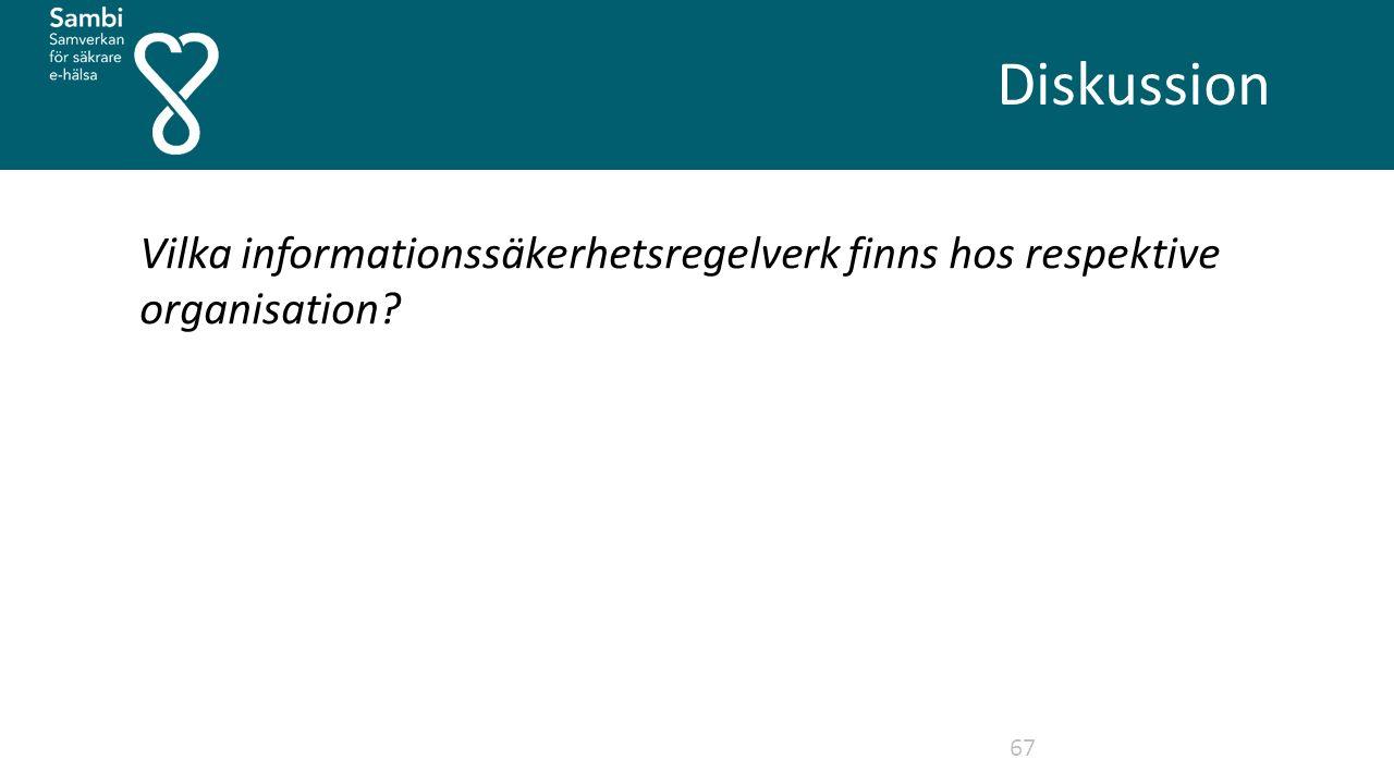 Diskussion 67 Vilka informationssäkerhetsregelverk finns hos respektive organisation?