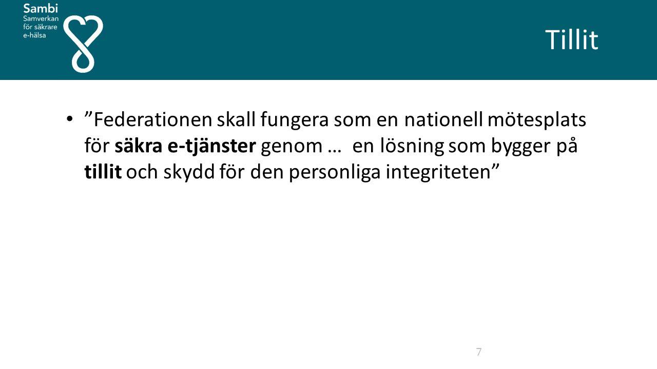 Tillit 7 Federationen skall fungera som en nationell mötesplats för säkra e-tjänster genom … en lösning som bygger på tillit och skydd för den personliga integriteten