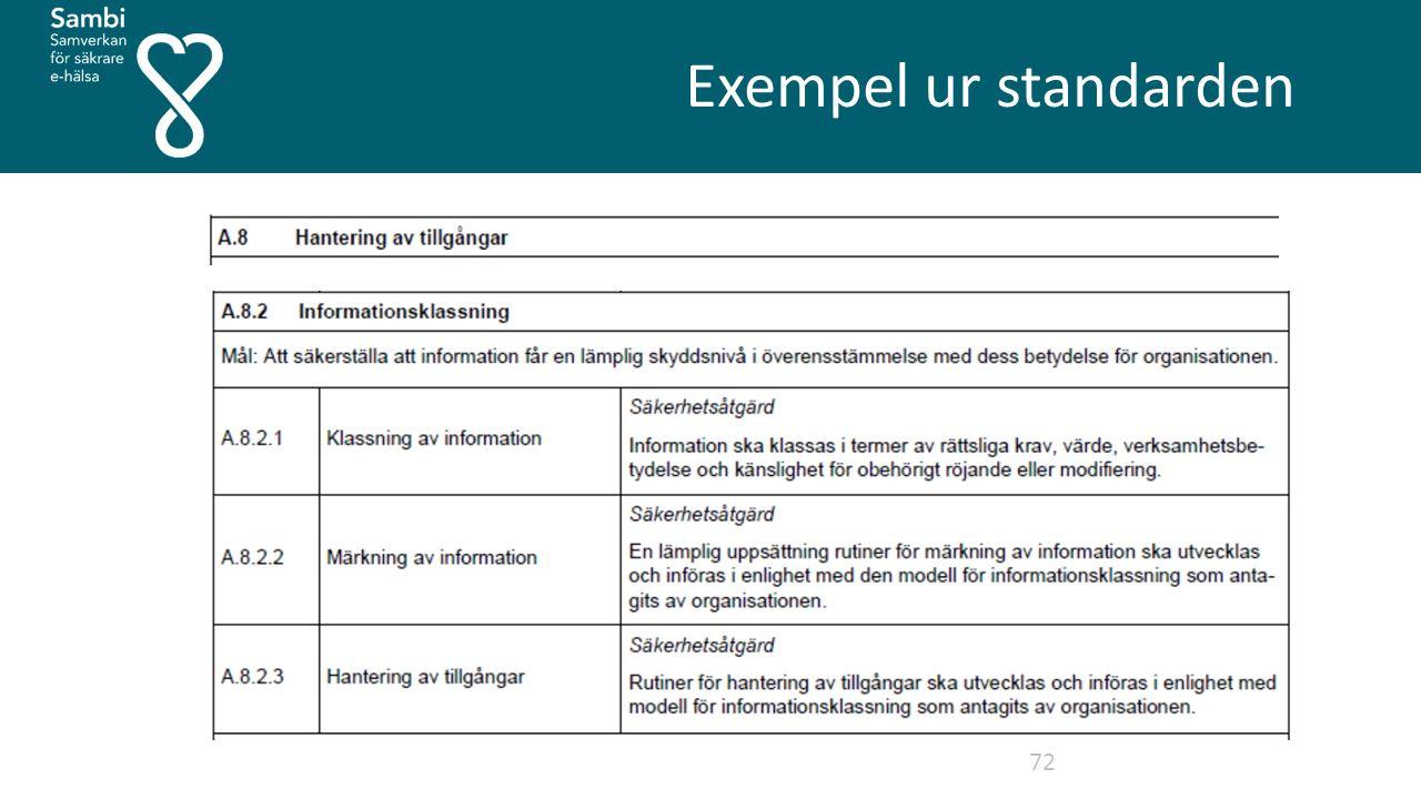 Exempel ur standarden 72