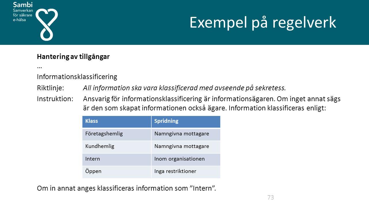 Exempel på regelverk 73 Hantering av tillgångar … Informationsklassificering Riktlinje: All information ska vara klassificerad med avseende på sekretess.