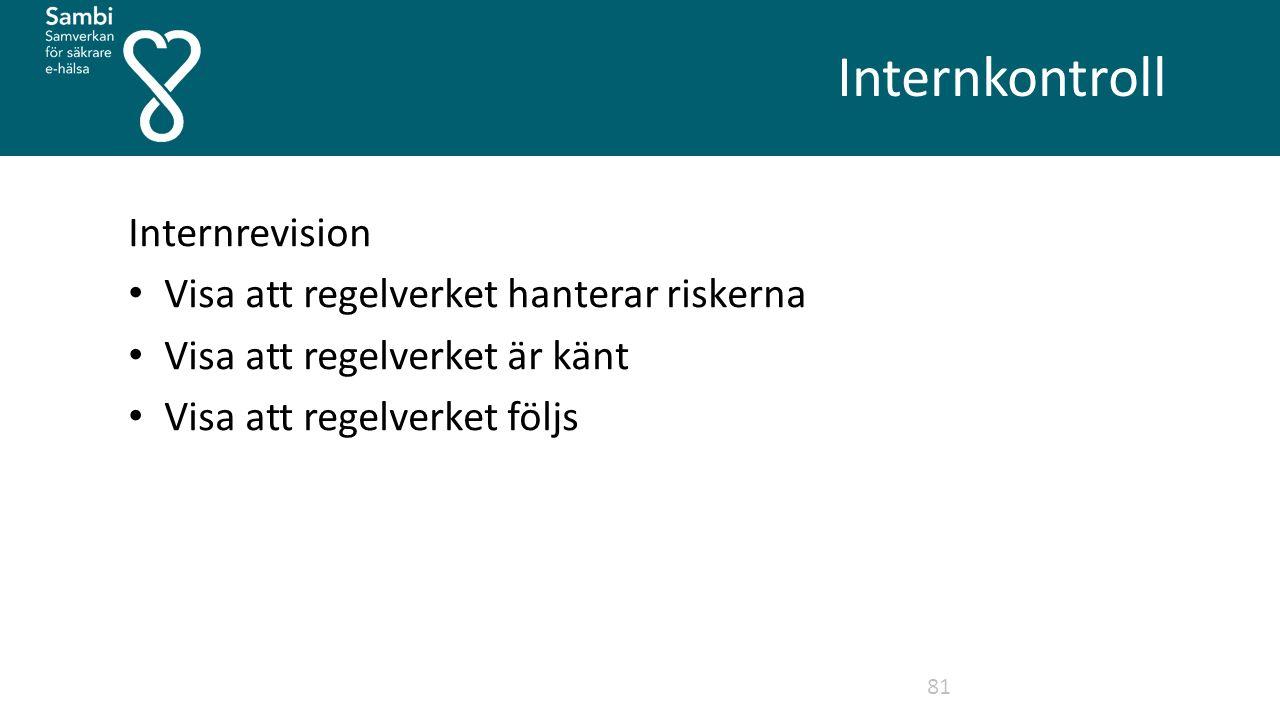 Internkontroll 81 Internrevision Visa att regelverket hanterar riskerna Visa att regelverket är känt Visa att regelverket följs