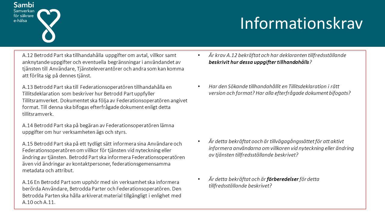 Informationskrav A.12 Betrodd Part ska tillhandahålla uppgifter om avtal, villkor samt anknytande uppgifter och eventuella begränsningar i användandet av tjänsten till Användare, Tjänsteleverantörer och andra som kan komma att förlita sig på dennes tjänst.