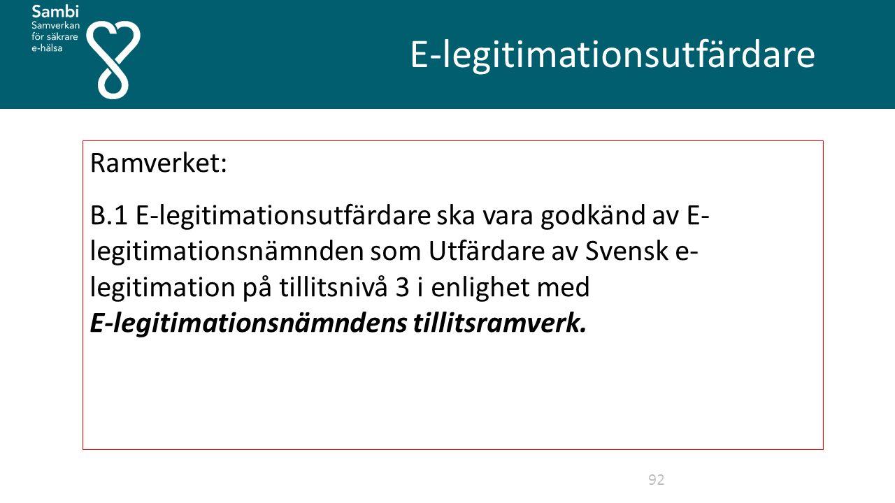 E-legitimationsutfärdare 92 Ramverket: B.1 E-legitimationsutfärdare ska vara godkänd av E- legitimationsnämnden som Utfärdare av Svensk e- legitimation på tillitsnivå 3 i enlighet med E-legitimationsnämndens tillitsramverk.