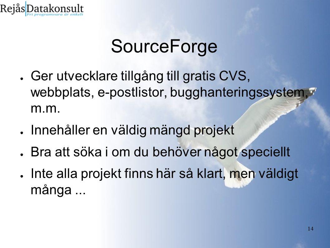 14 SourceForge ● Ger utvecklare tillgång till gratis CVS, webbplats, e-postlistor, bugghanteringssystem, m.m. ● Innehåller en väldig mängd projekt ● B