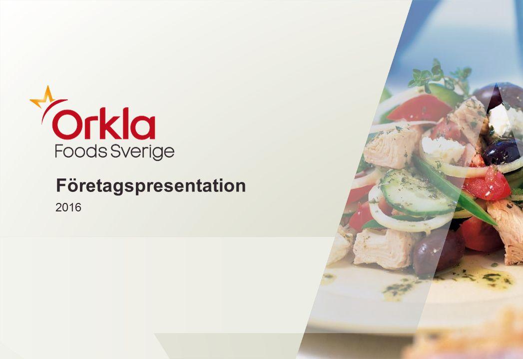 Innehåll Orkla Foods Sverige En del av en global koncern Vår anrika historia Två affärsområden: Retail och FoodSolutions Vårt ansvar