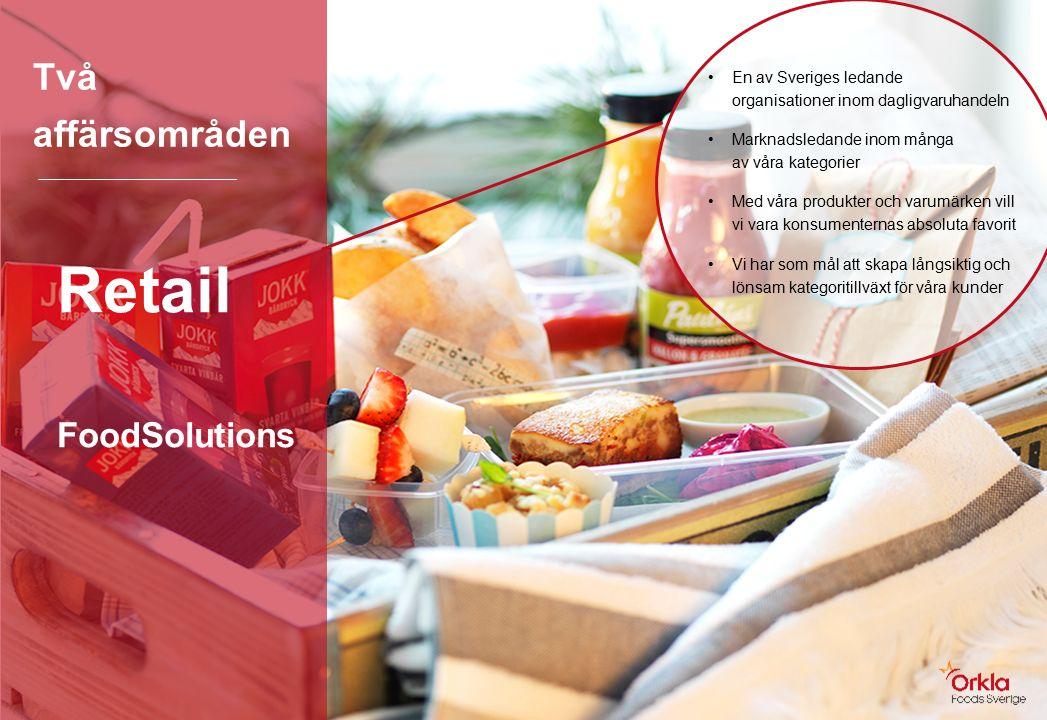 Två affärsområden Retail FoodSolutions En av Sveriges ledande organisationer inom dagligvaruhandeln Marknadsledande inom många av våra kategorier Med våra produkter och varumärken vill vi vara konsumenternas absoluta favorit Vi har som mål att skapa långsiktig och lönsam kategoritillväxt för våra kunder