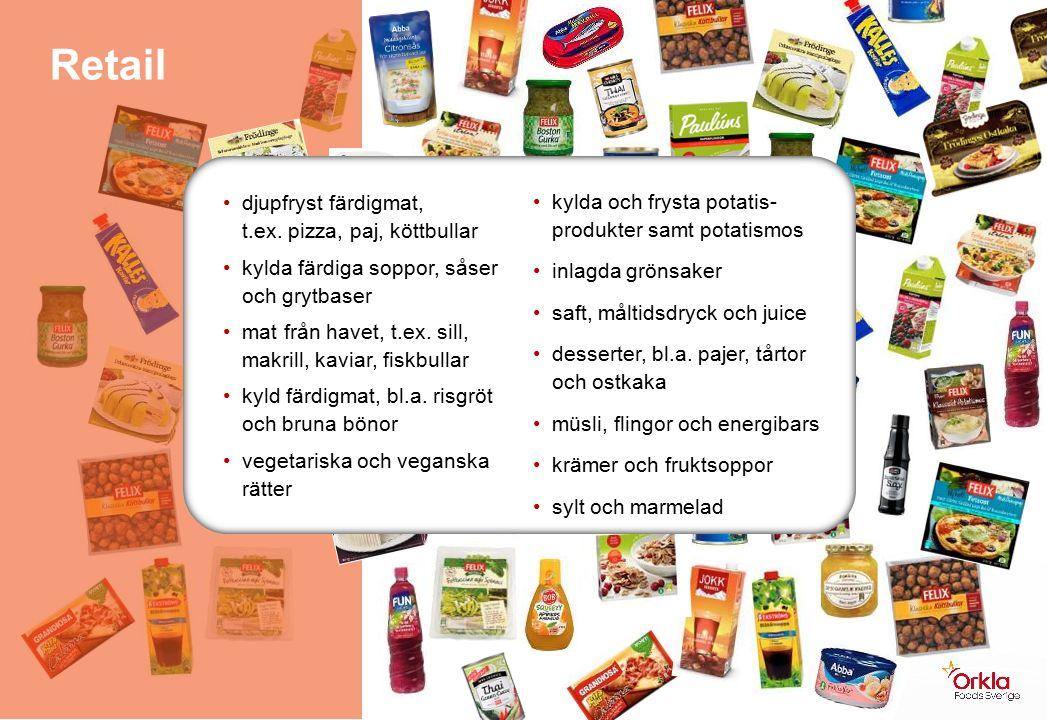 kylda och frysta potatis- produkter samt potatismos inlagda grönsaker saft, måltidsdryck och juice desserter, bl.a.