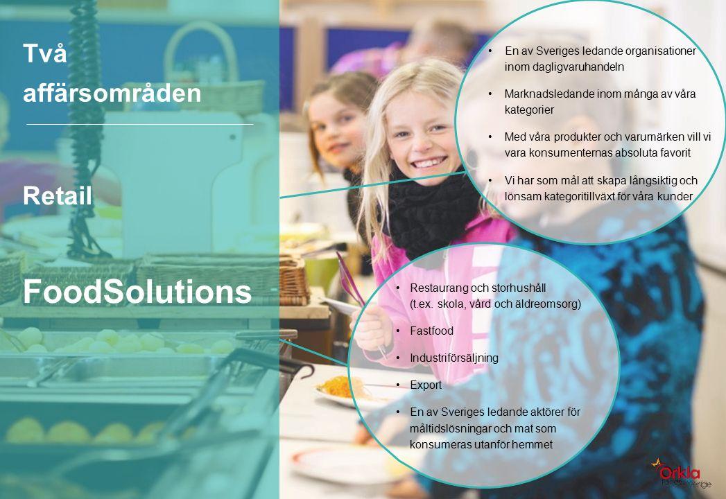 Två affärsområden Retail FoodSolutions En av Sveriges ledande organisationer inom dagligvaruhandeln Marknadsledande inom många av våra kategorier Med våra produkter och varumärken vill vi vara konsumenternas absoluta favorit Vi har som mål att skapa långsiktig och lönsam kategoritillväxt för våra kunder Restaurang och storhushåll (t.ex.