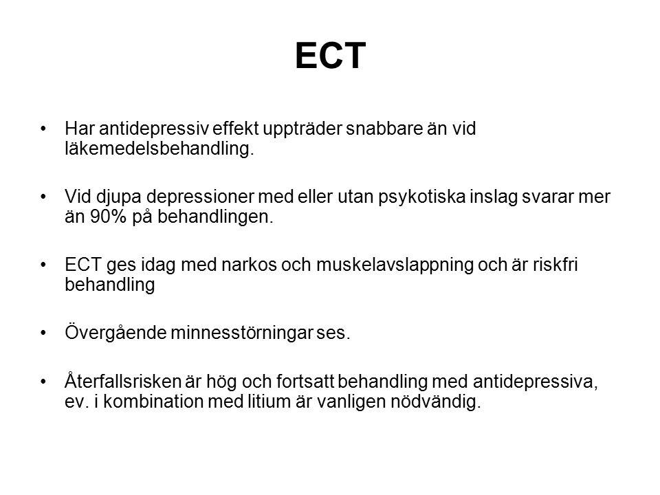 ECT Har antidepressiv effekt uppträder snabbare än vid läkemedelsbehandling.