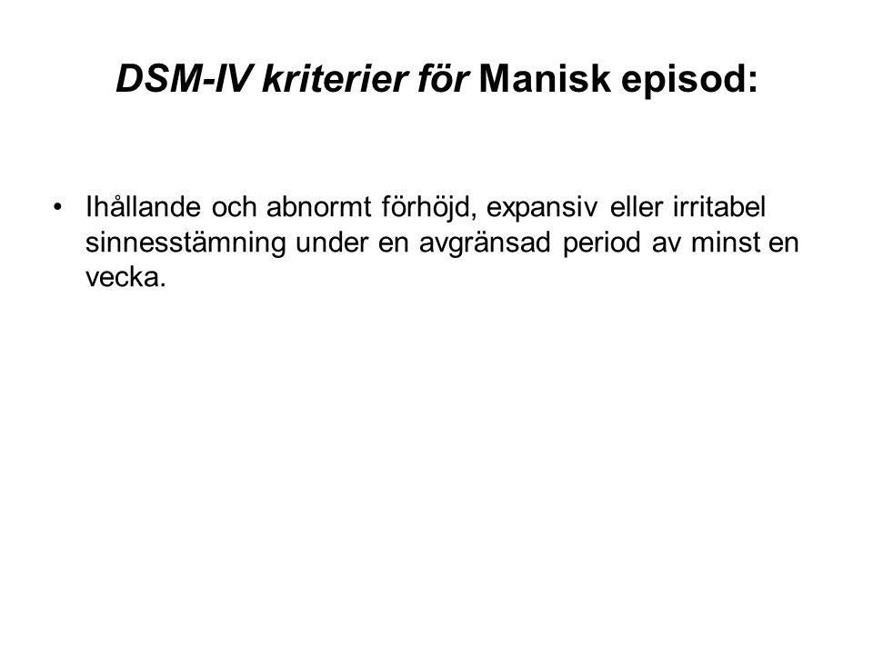 DSM-IV kriterier för Manisk episod: Ihållande och abnormt förhöjd, expansiv eller irritabel sinnesstämning under en avgränsad period av minst en vecka.
