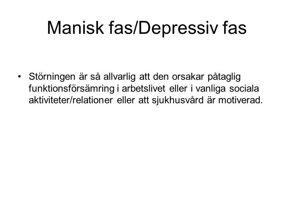 Manisk fas/Depressiv fas Störningen är så allvarlig att den orsakar påtaglig funktionsförsämring i arbetslivet eller i vanliga sociala aktiviteter/relationer eller att sjukhusvård är motiverad.