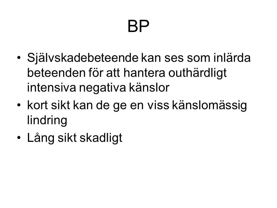 BP Självskadebeteende kan ses som inlärda beteenden för att hantera outhärdligt intensiva negativa känslor kort sikt kan de ge en viss känslomässig lindring Lång sikt skadligt