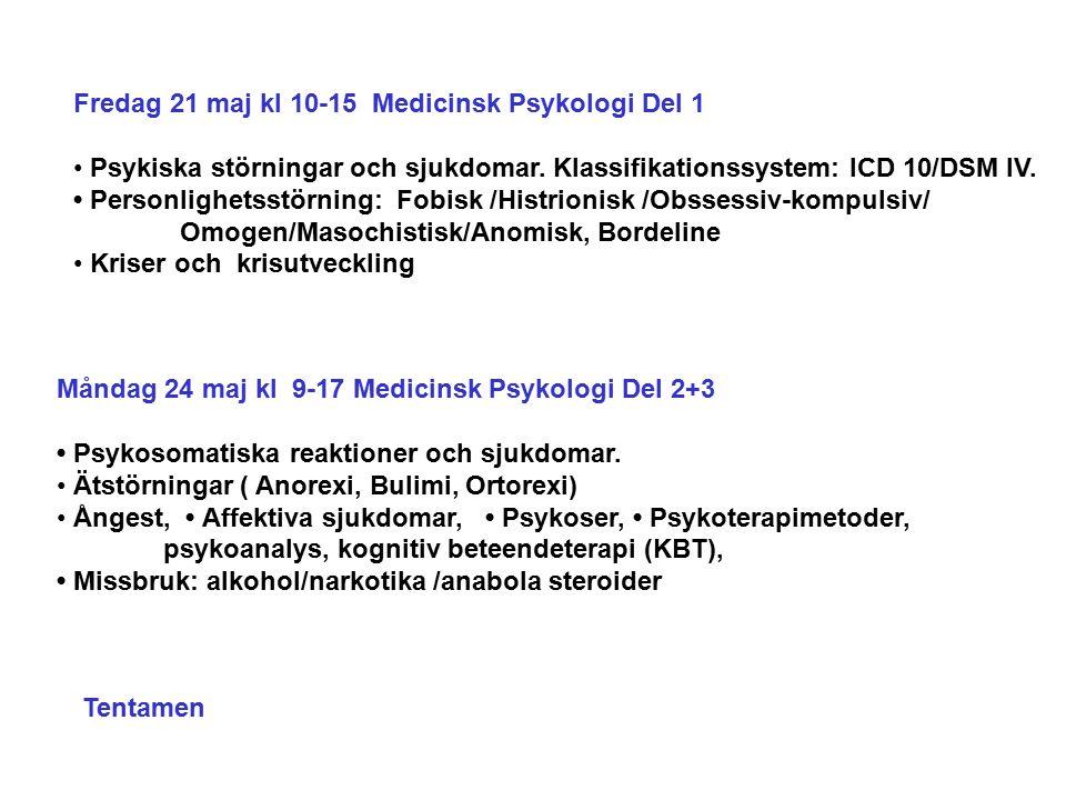 Fredag 21 maj kl 10-15 Medicinsk Psykologi Del 1 Psykiska störningar och sjukdomar.