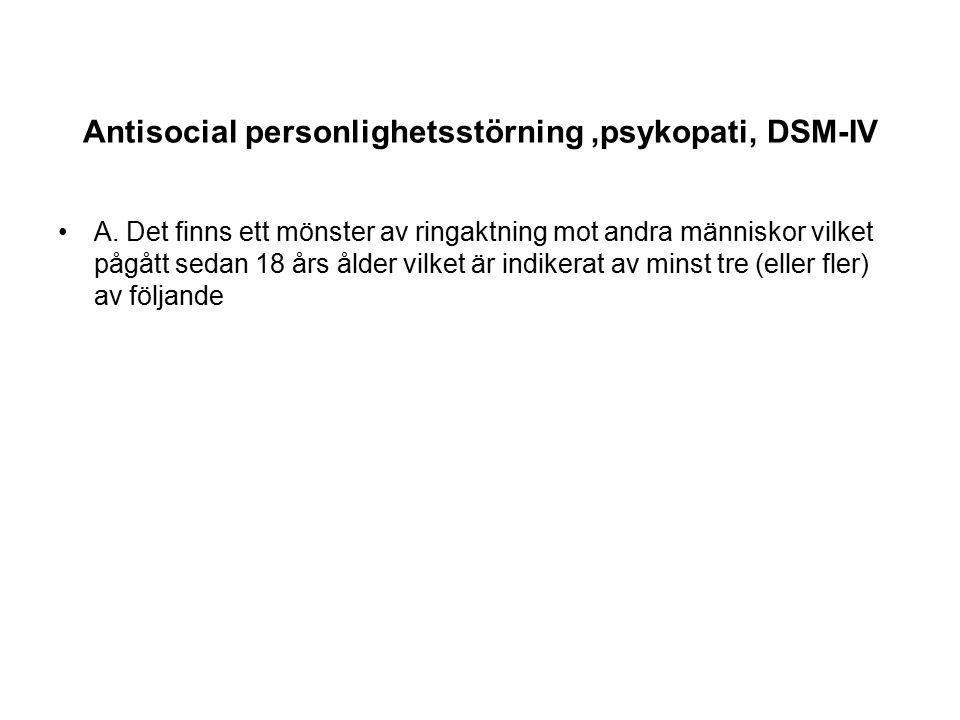 Antisocial personlighetsstörning,psykopati, DSM-IV A.