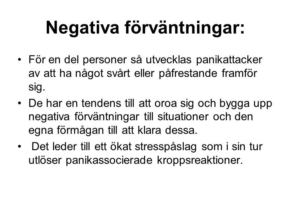 Negativa förväntningar: För en del personer så utvecklas panikattacker av att ha något svårt eller påfrestande framför sig.