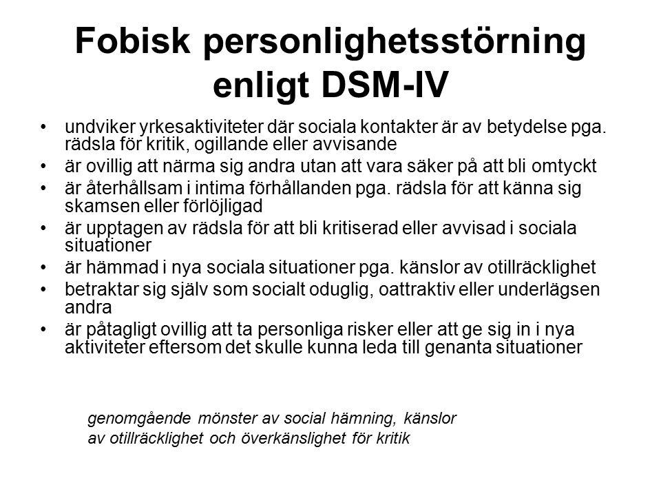 Fobisk personlighetsstörning enligt DSM-IV undviker yrkesaktiviteter där sociala kontakter är av betydelse pga.
