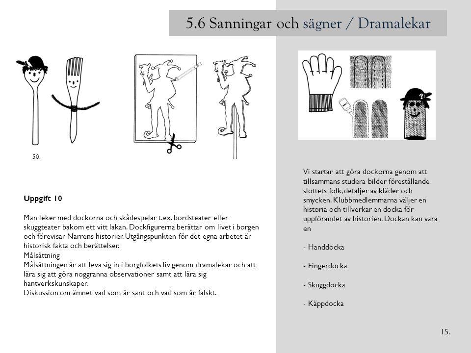 5.6 Sanningar och sägner / Dramalekar Vi startar att göra dockorna genom att tillsammans studera bilder föreställande slottets folk, detaljer av kläder och smycken.