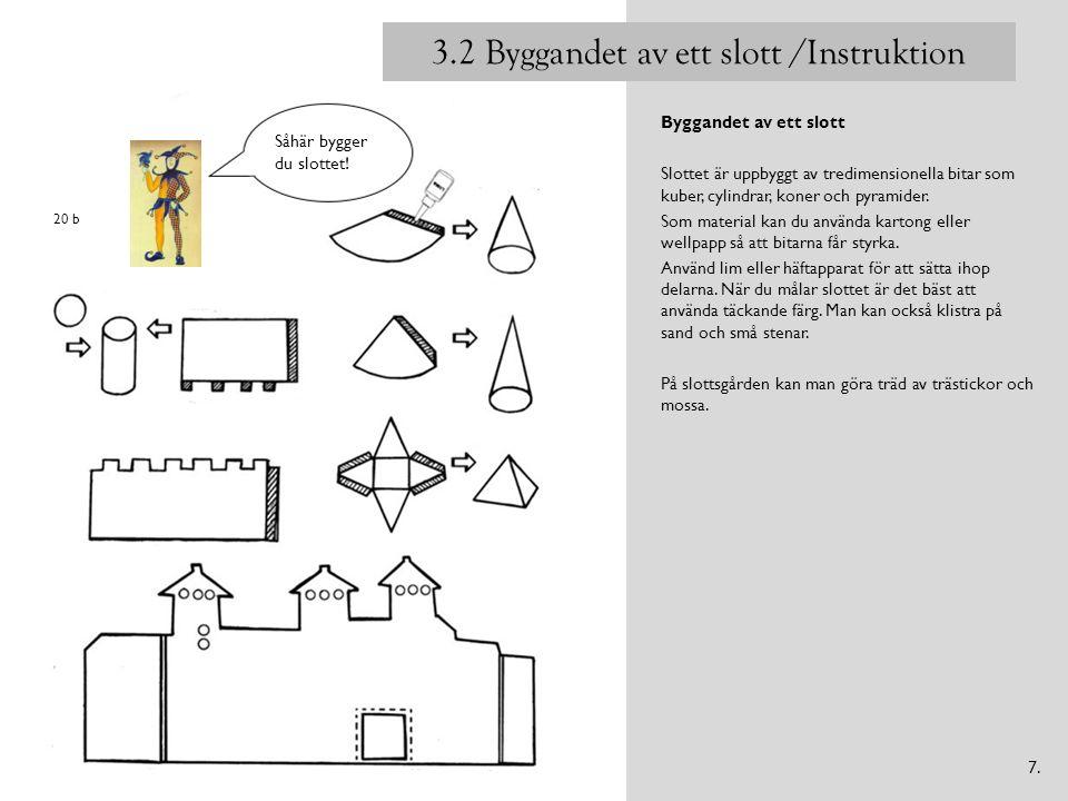 Byggandet av ett slott Slottet är uppbyggt av tredimensionella bitar som kuber, cylindrar, koner och pyramider. Som material kan du använda kartong el