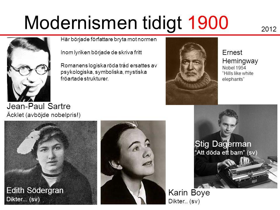 Modernismen tidigt 1900 Jean-Paul Sartre Äcklet (avböjde nobelpris!) Edith Södergran Dikter...