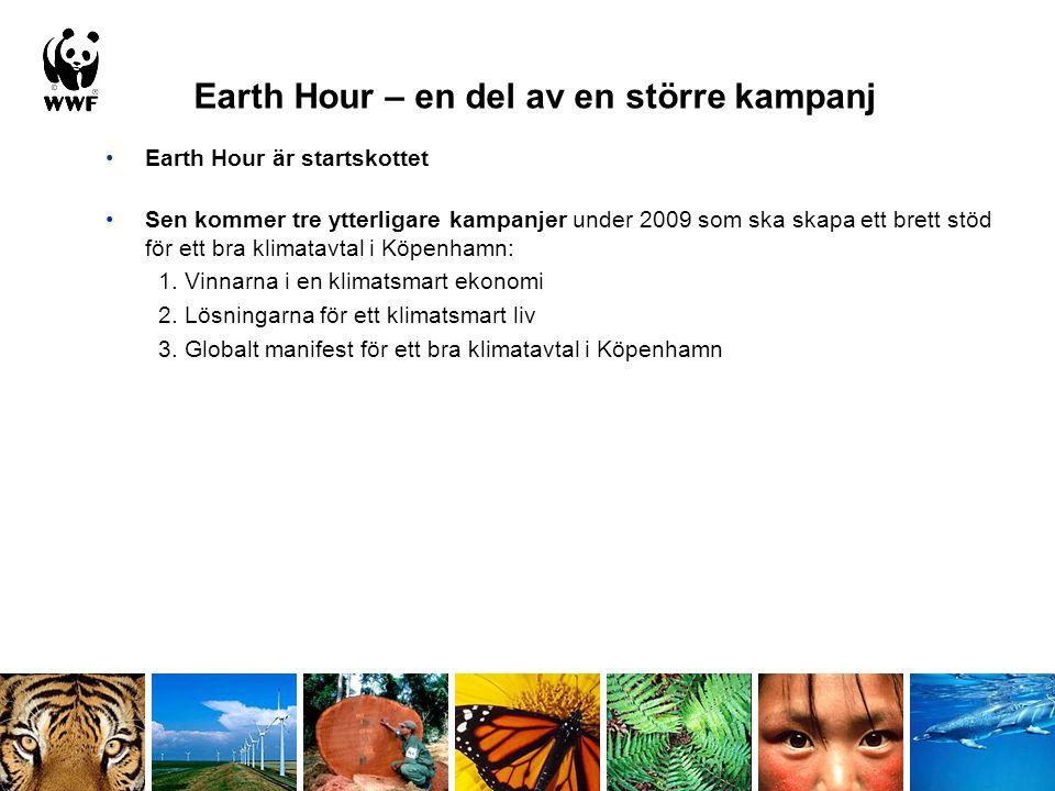 Earth Hour – en del av en större kampanj Earth Hour är startskottet Sen kommer tre ytterligare kampanjer under 2009 som ska skapa ett brett stöd för ett bra klimatavtal i Köpenhamn: 1.
