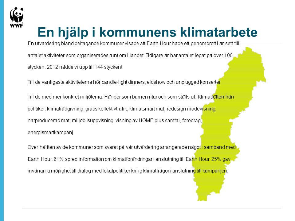 En hjälp i kommunens klimatarbete En utvärdering bland deltagande kommuner visade att Earth Hour hade ett genombrott i a ̊ r sett till antalet aktiviteter som organiserades runt om i landet.