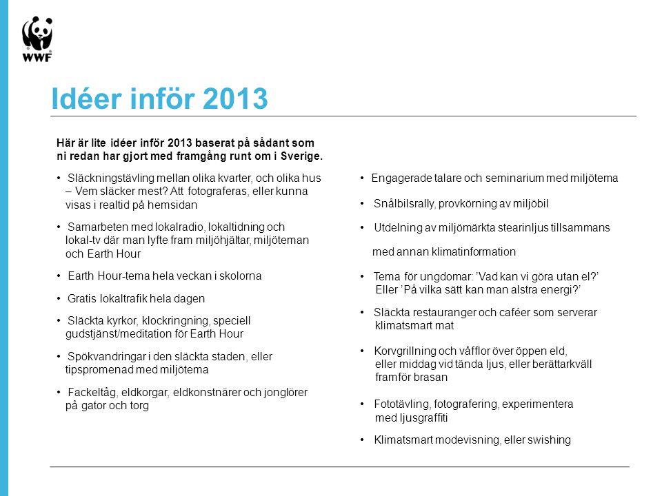 Idéer inför 2013 Här är lite idéer inför 2013 baserat på sådant som ni redan har gjort med framgång runt om i Sverige.
