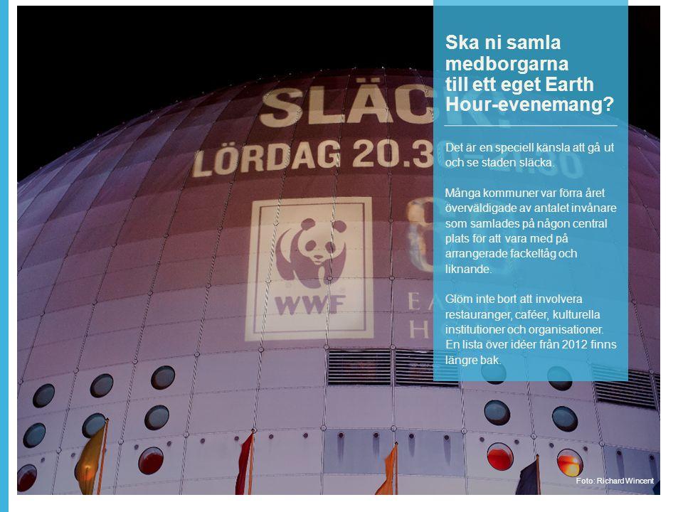 Ska ni samla medborgarna till ett eget Earth Hour-evenemang.