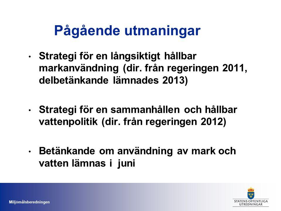 Miljömålsberedningen Pågående utmaningar Strategi för en långsiktigt hållbar markanvändning (dir. från regeringen 2011, delbetänkande lämnades 2013) S