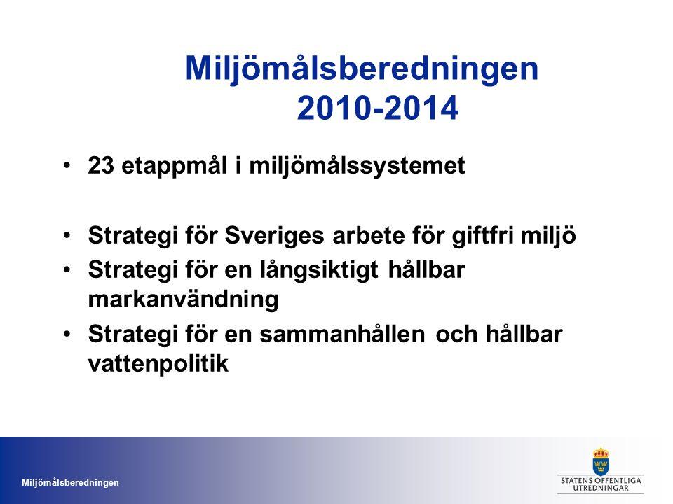 Miljömålsberedningen Miljömålsberedningen 2010-2014 23 etappmål i miljömålssystemet Strategi för Sveriges arbete för giftfri miljö Strategi för en långsiktigt hållbar markanvändning Strategi för en sammanhållen och hållbar vattenpolitik