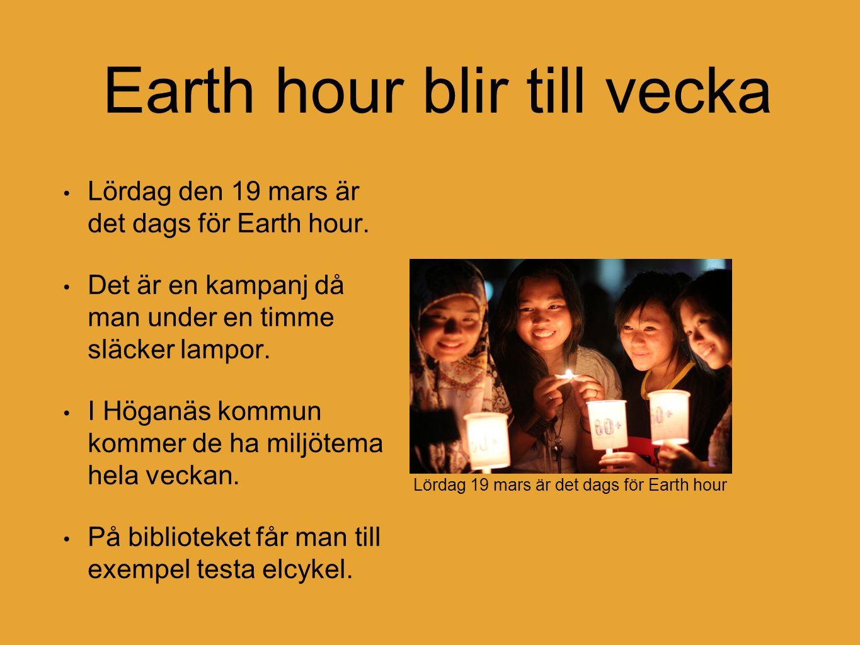 Earth hour blir till vecka Lördag den 19 mars är det dags för Earth hour. Det är en kampanj då man under en timme släcker lampor. I Höganäs kommun kom
