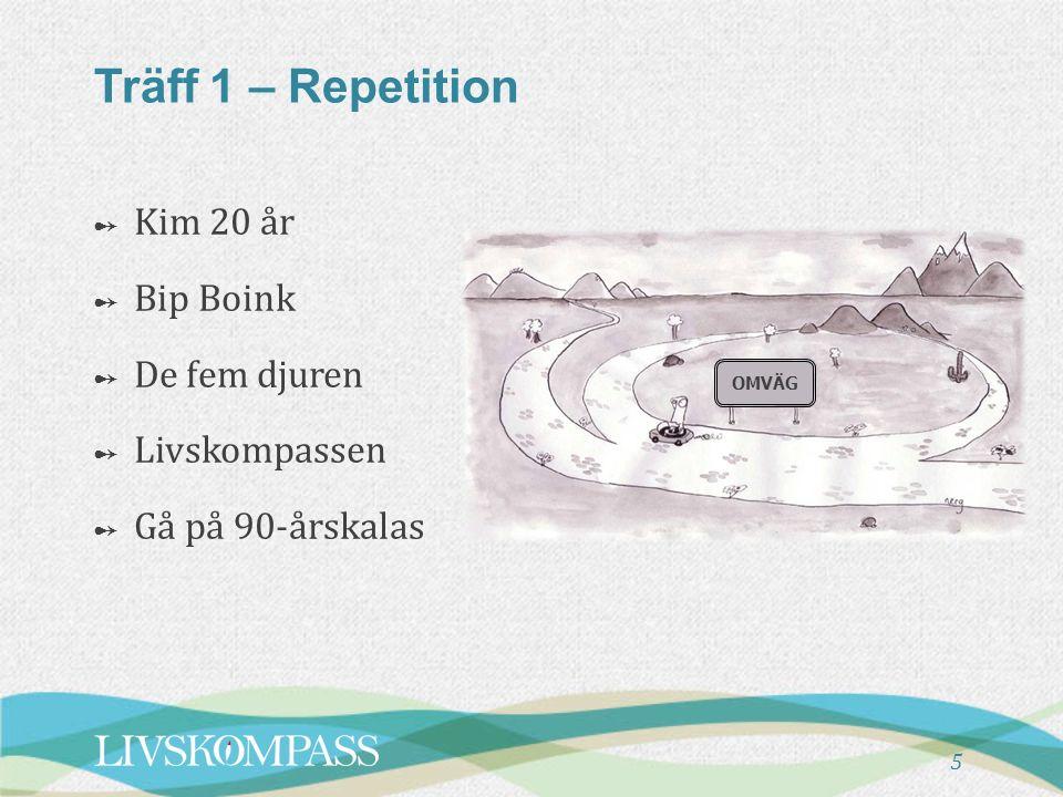 6 Träff 2 - Översikt ➻ De fem djuren ➻ Repetition av Träff 1 ➻ Genomgång av Öva mellan träffarna ➻ Livskompassen Paus ➻ Ljudbollen ➻ Balans och livsutrymme ➻ Ta steg mot det jag tycker är viktigt ➻ Planering av att öva mellan träffarna