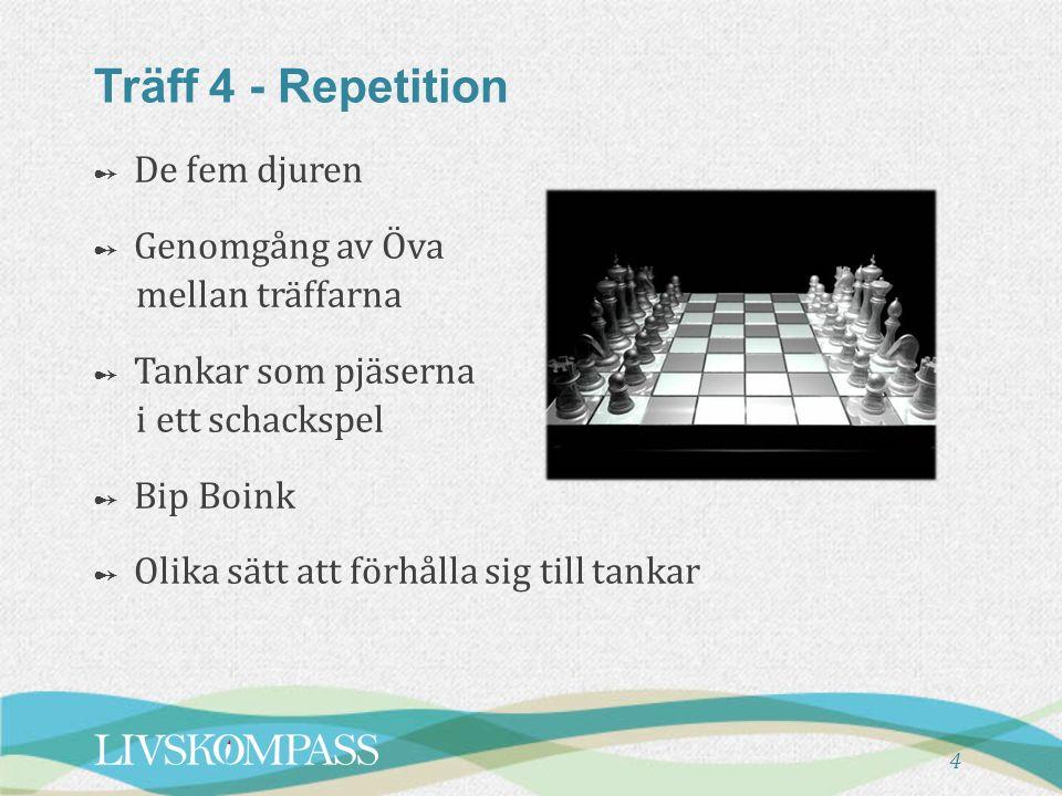 4 Träff 4 - Repetition ➻ De fem djuren ➻ Genomgång av Öva mellan träffarna ➻ Tankar som pjäserna i ett schackspel ➻ Bip Boink ➻ Olika sätt att förhålla sig till tankar
