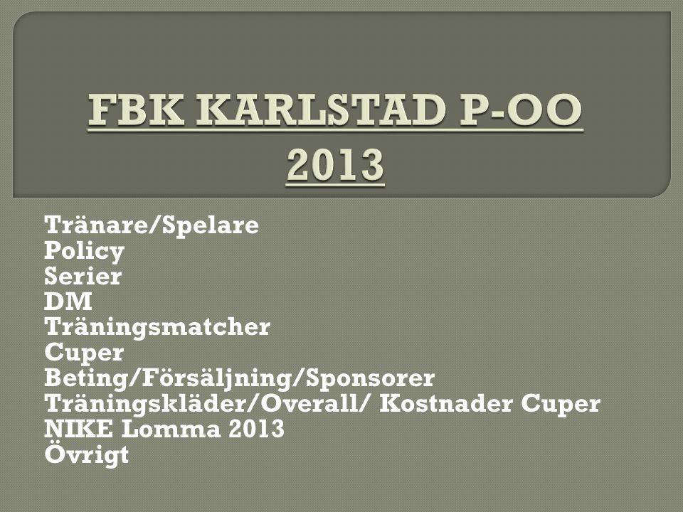 Tränare/Spelare Policy Serier DM Träningsmatcher Cuper Beting/Försäljning/Sponsorer Träningskläder/Overall/ Kostnader Cuper NIKE Lomma 2013 Övrigt