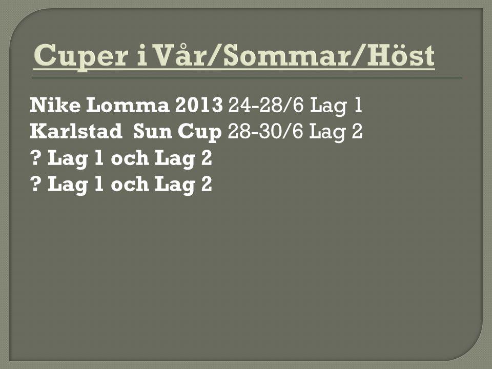 Nike Lomma 2013 24-28/6 Lag 1 Karlstad Sun Cup 28-30/6 Lag 2 ? Lag 1 och Lag 2 ? Lag 1 och Lag 2
