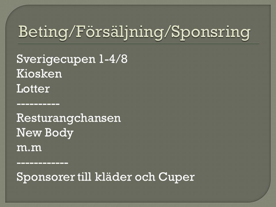 Sverigecupen 1-4/8 Kiosken Lotter ---------- Resturangchansen New Body m.m ------------ Sponsorer till kläder och Cuper