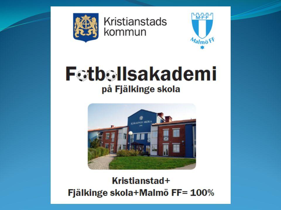 Bakgrund: En första kontakt med Malmö FF tas i februari 2015 Projektplan lämnas till BUF i oktober 2015 Fyra mål med fotbollsakademi på Fjälkinge skola - Öka elevantalet - Öka måluppfyllelsen - Öka integrationen - Tydligare profil och image för skolan
