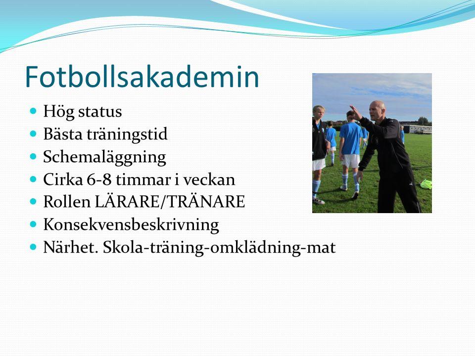 Fotbollsakademin Hög status Bästa träningstid Schemaläggning Cirka 6-8 timmar i veckan Rollen LÄRARE/TRÄNARE Konsekvensbeskrivning Närhet.