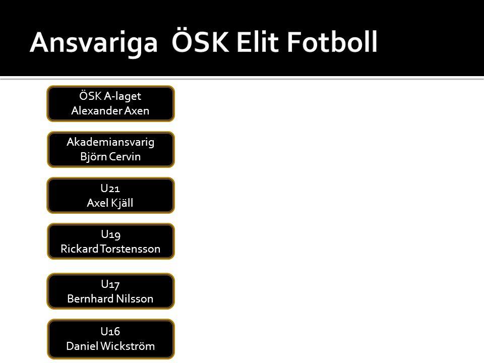 ÖSK A-laget Alexander Axen U21 Axel Kjäll U19 Rickard Torstensson U17 Bernhard Nilsson U16 Daniel Wickström Akademiansvarig Björn Cervin