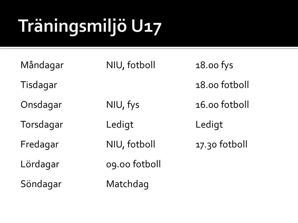 Måndagar NIU, fotboll18.00 fys Tisdagar18.00 fotboll OnsdagarNIU, fys16.00 fotboll TorsdagarLedigtLedigt FredagarNIU, fotboll 17.30 fotboll Lördagar09.oo fotboll SöndagarMatchdag