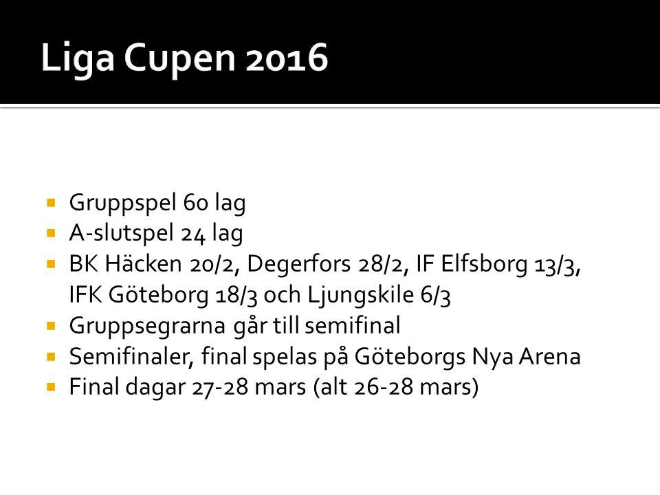  Gruppspel 60 lag  A-slutspel 24 lag  BK Häcken 20/2, Degerfors 28/2, IF Elfsborg 13/3, IFK Göteborg 18/3 och Ljungskile 6/3  Gruppsegrarna går till semifinal  Semifinaler, final spelas på Göteborgs Nya Arena  Final dagar 27-28 mars (alt 26-28 mars)