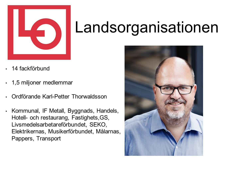 Landsorganisationen 14 fackförbund 1,5 miljoner medlemmar Ordförande Karl-Petter Thorwaldsson Kommunal, IF Metall, Byggnads, Handels, Hotell- och restaurang, Fastighets,GS, Livsmedelsarbetareförbundet, SEKO, Elektrikernas, Musikerförbundet, Målarnas, Pappers, Transport
