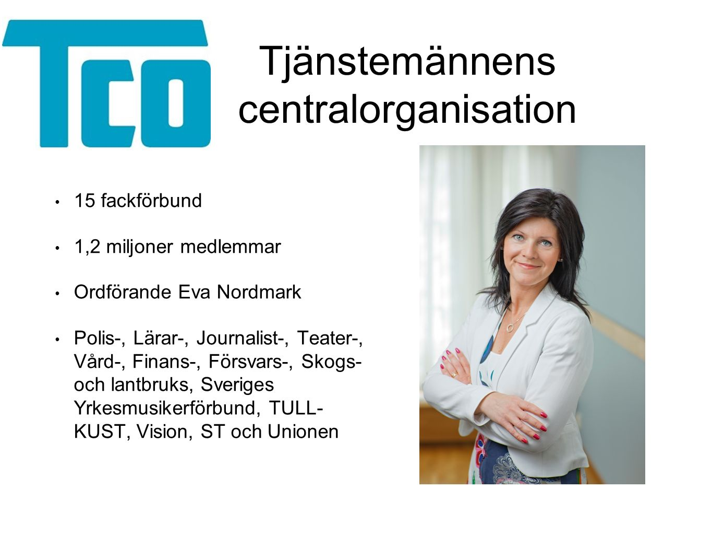 Tjänstemännens centralorganisation 15 fackförbund 1,2 miljoner medlemmar Ordförande Eva Nordmark Polis-, Lärar-, Journalist-, Teater-, Vård-, Finans-,