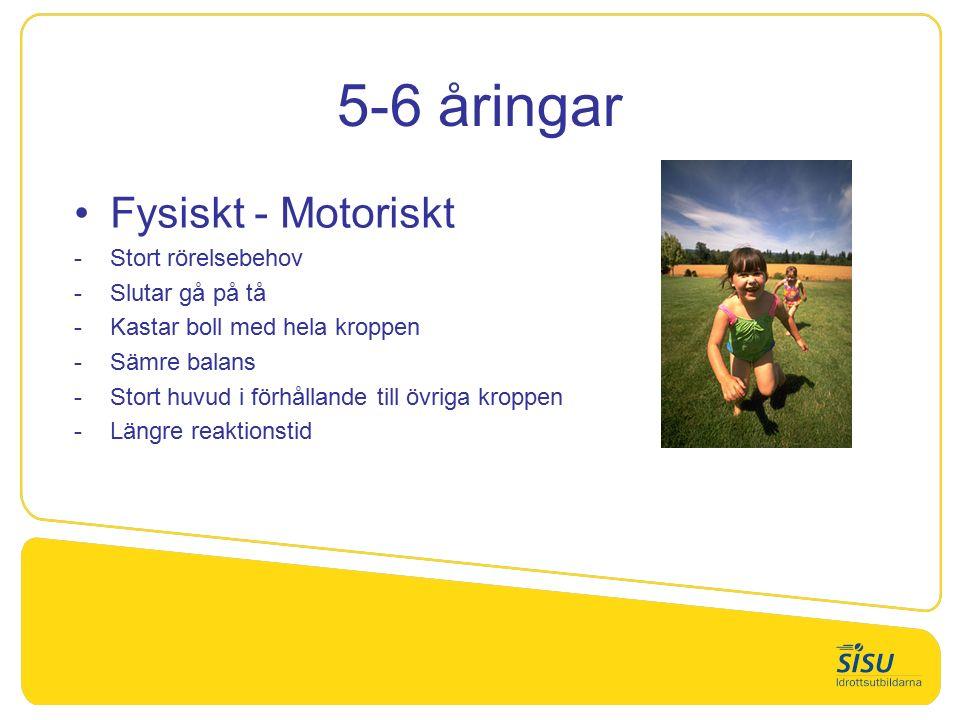 5-6 åringar Fysiskt - Motoriskt Stort rörelsebehov Slutar gå på tå Kastar boll med hela kroppen Sämre balans Stort huvud i förhållande till övriga kroppen Längre reaktionstid