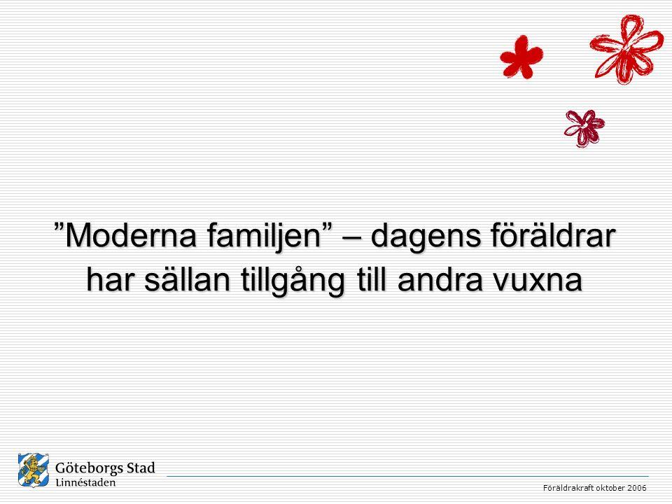 Moderna familjen – dagens föräldrar har sällan tillgång till andra vuxna