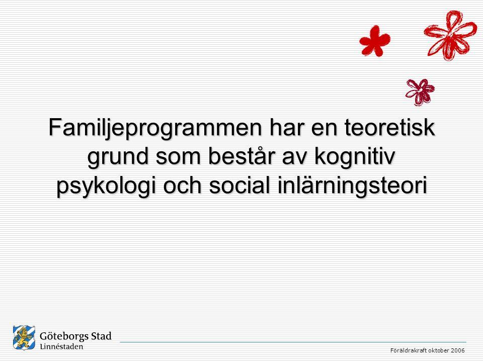 Föräldrakraft oktober 2006 Familjeprogram är mer effektiva än föräldraprogram Familjeprogram kombinerat med socialt och emotionellt lärande i skolan har bäst effekt Förebygger beteendeproblem Insatser för alla är bättre än insatser för enbart riskgrupper Arbetsformerna är demokratiska – alla kommer till tals