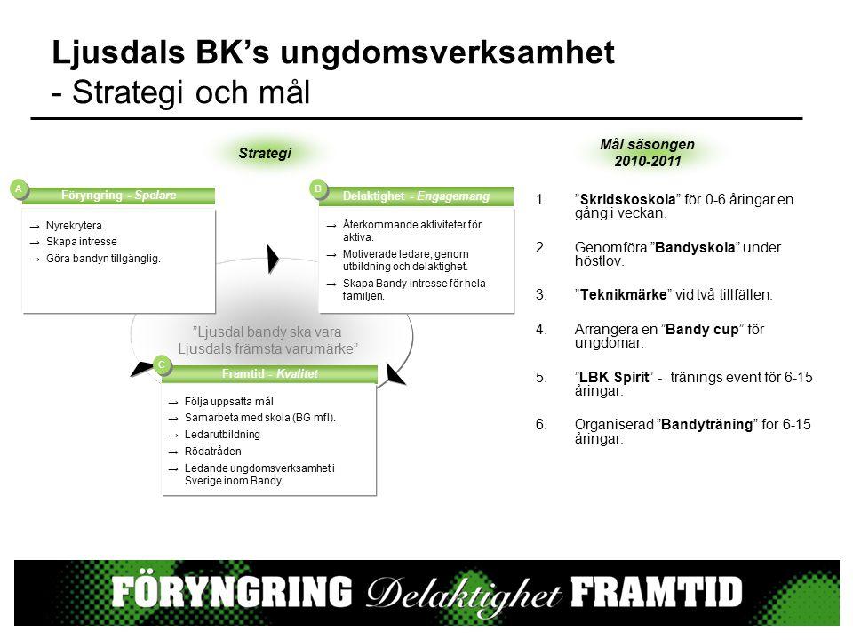 """Ljusdals BK's ungdomsverksamhet - Strategi och mål 1.""""Skridskoskola"""" för 0-6 åringar en gång i veckan. 2.Genomföra """"Bandyskola"""" under höstlov. 3.""""Tekn"""