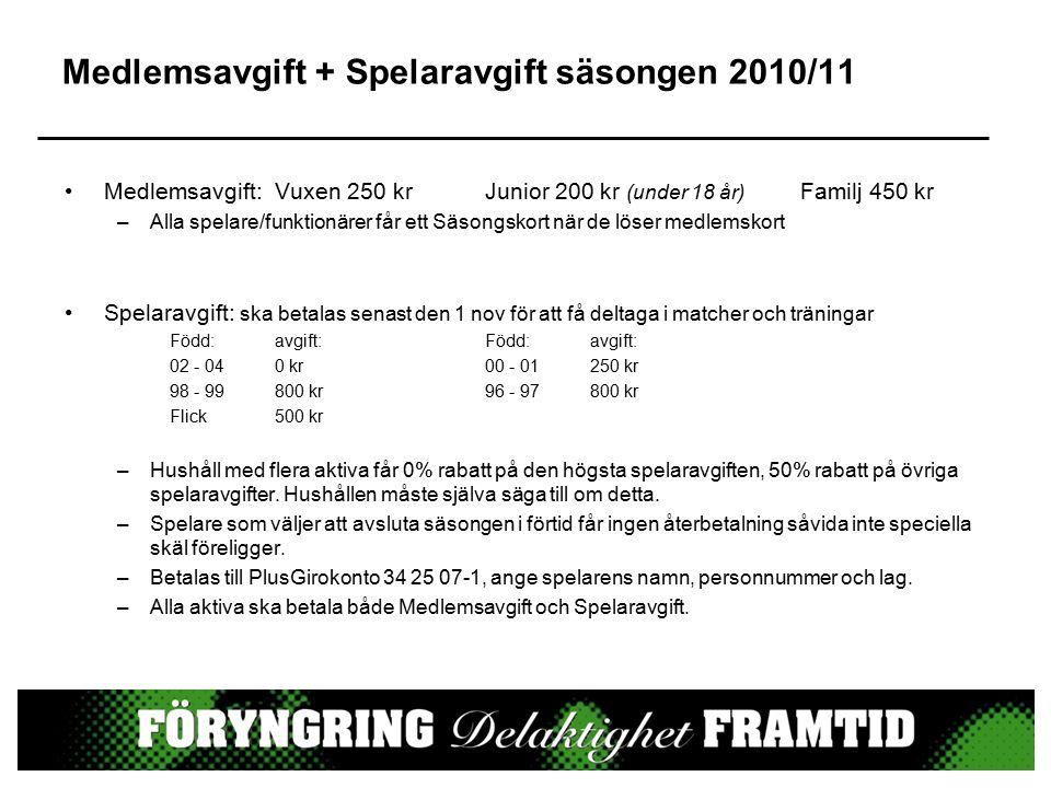 Medlemsavgift + Spelaravgift säsongen 2010/11 Medlemsavgift:Vuxen 250 krJunior 200 kr (under 18 år) Familj 450 kr –Alla spelare/funktionärer får ett S
