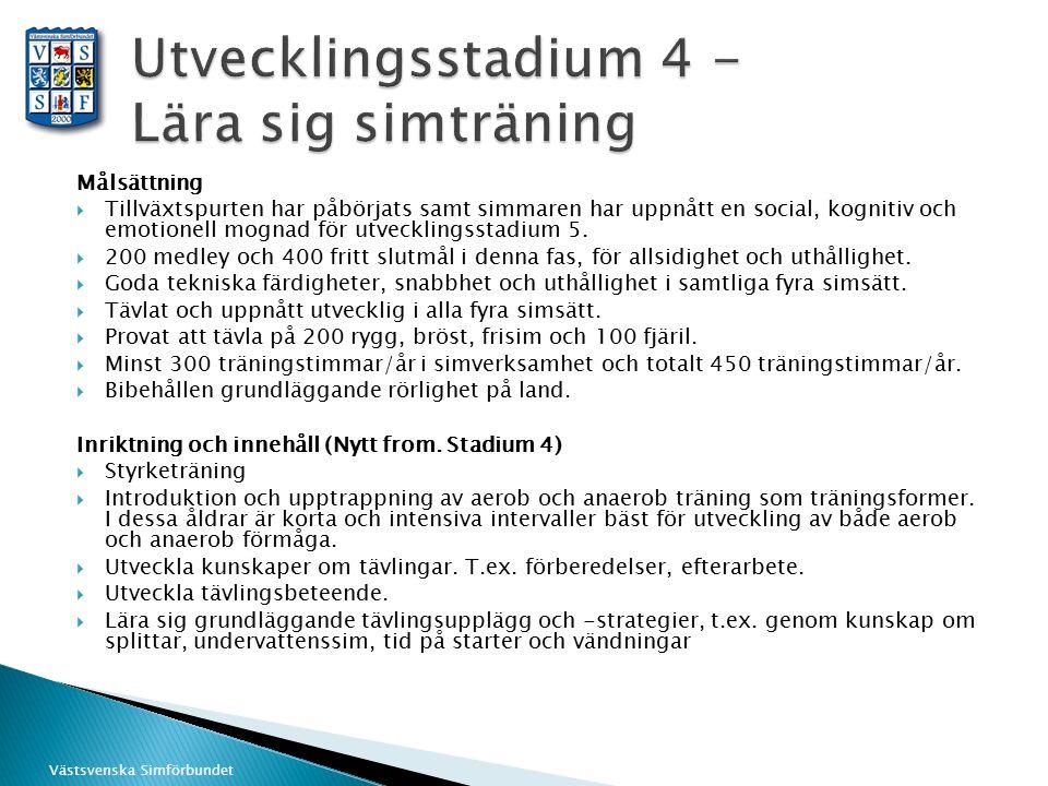 Västsvenska Simförbundet Målsättning  Tillväxtspurten har påbörjats samt simmaren har uppnått en social, kognitiv och emotionell mognad för utvecklin