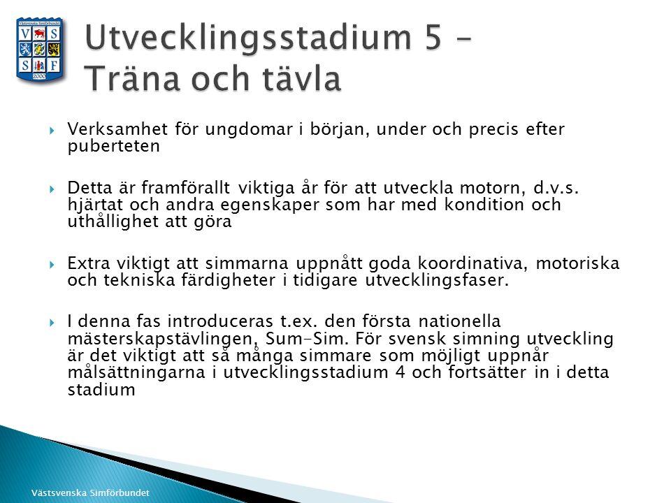 Västsvenska Simförbundet  Verksamhet för ungdomar i början, under och precis efter puberteten  Detta är framförallt viktiga år för att utveckla moto