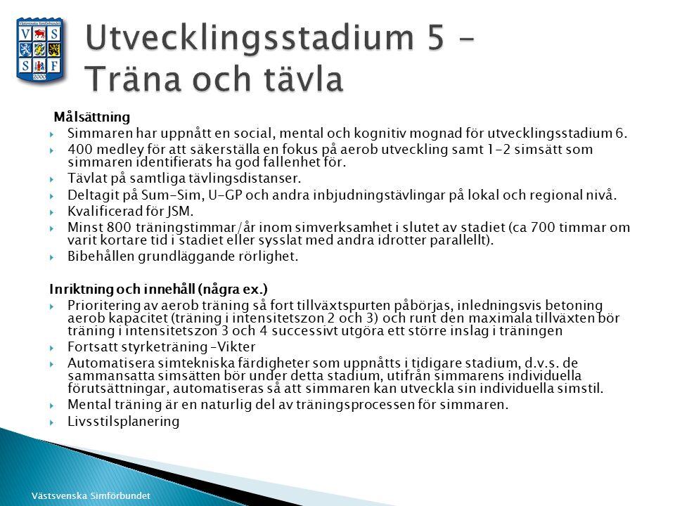 Västsvenska Simförbundet Målsättning  Simmaren har uppnått en social, mental och kognitiv mognad för utvecklingsstadium 6.  400 medley för att säker